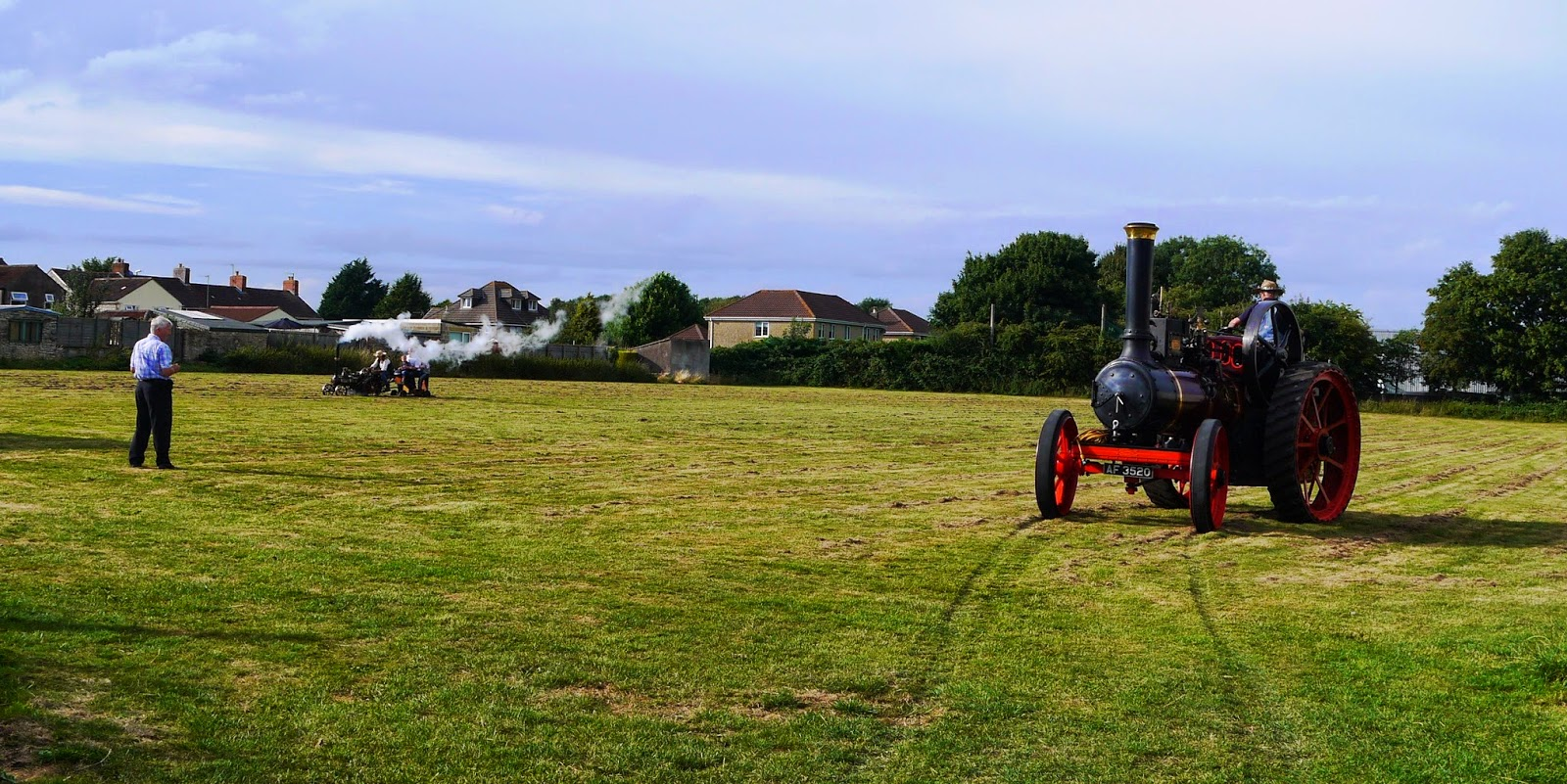 Steam engines in a field