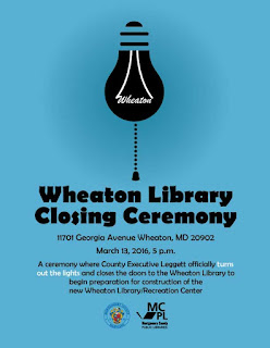 Wheaton Library Closing Ceremony flyer