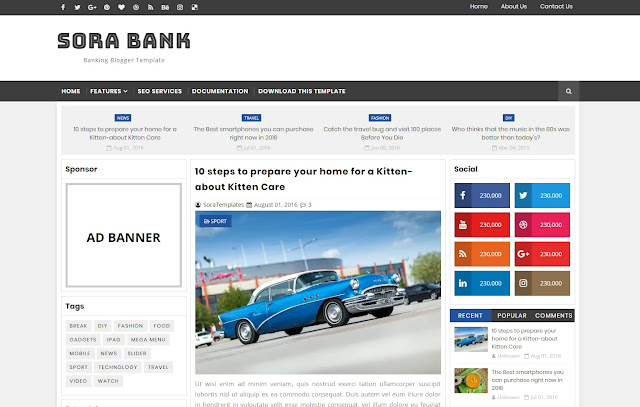 Sora Bank Responsive Magazine Personal Blog Tutorial Tech Site Blogger Template Theme