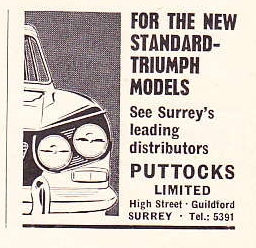 Puttocks Ltd, Guildford advert from Motor 30 May 1962