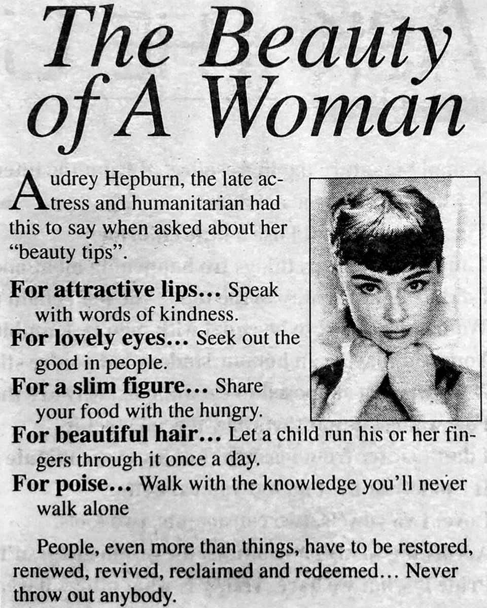 The Beauty of A Woman: Beauty Tips by Audrey Hepburn  Vintage