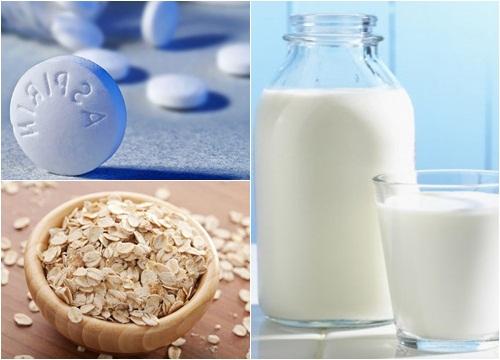 Làm trắng da bằng aspirin với sữa tươi và bột yến mạch