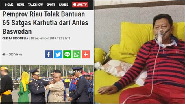 Tolak Bantuan Anies Baswedan Kepala BPBD Riau Terkapar Kena ISPA