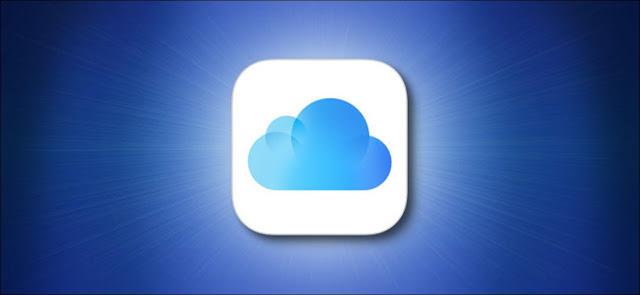 شعار Apple iCloud على خلفية زرقاء