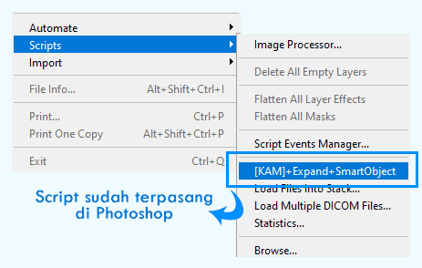 Memasukkan Scripts pengembalian tampilan smart object di Photoshop