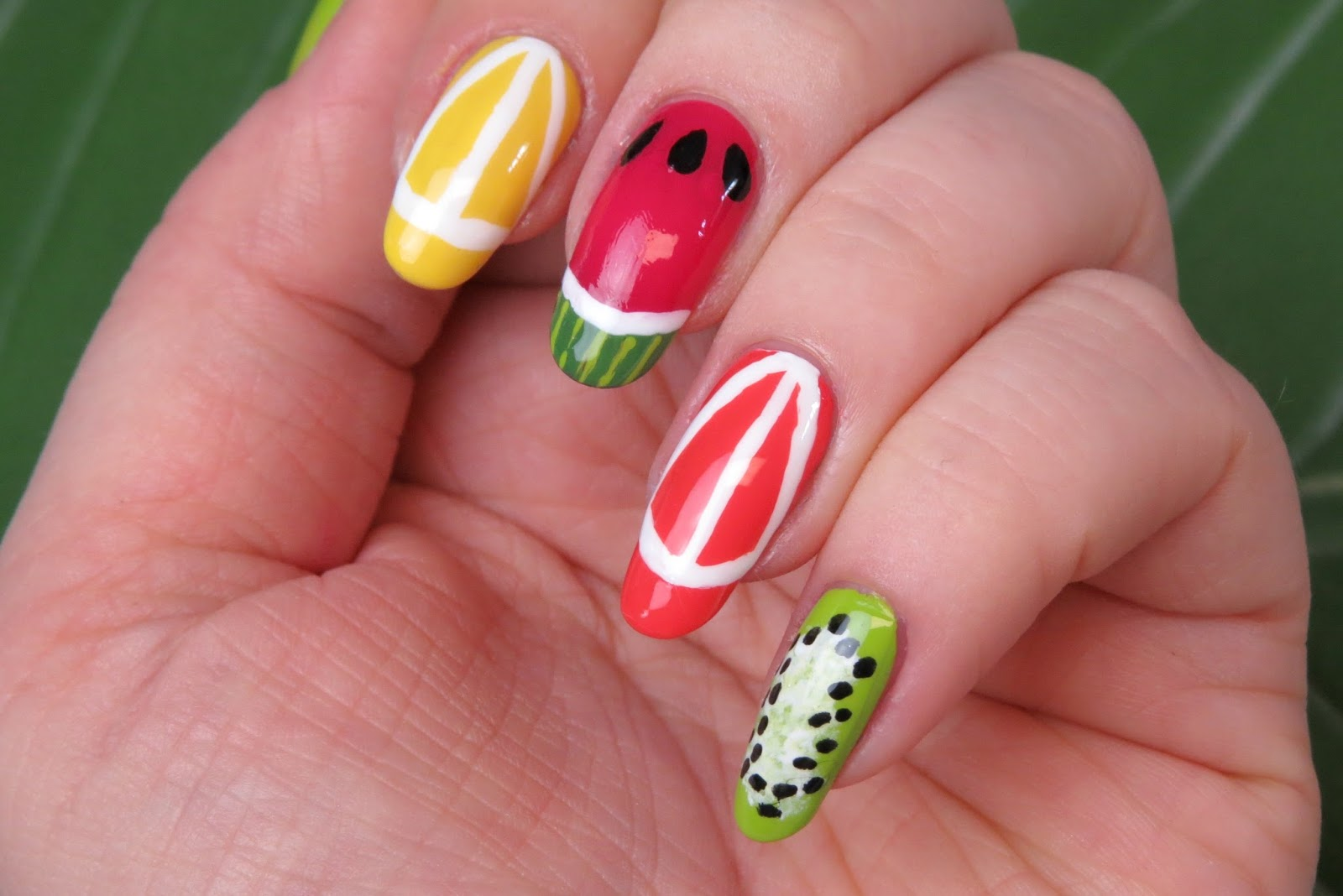 Mani monday summertime fruit kaitlyn elisabeth beauty fruit nail art design lemon nail art design orange nail art design watermelon nail art design prinsesfo Image collections