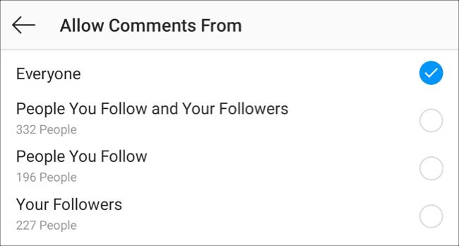 """قم بزيارة إعدادات """"السماح بالتعليقات من"""" في تطبيق Instagram"""