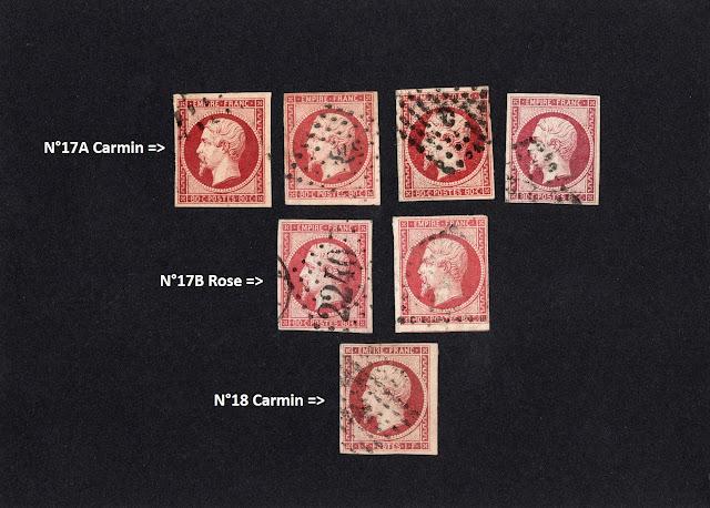 différencier Carmin Rose timbres Napoléon