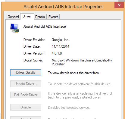 Alcatel Android ADB Interface Windows Vista 32-BIT