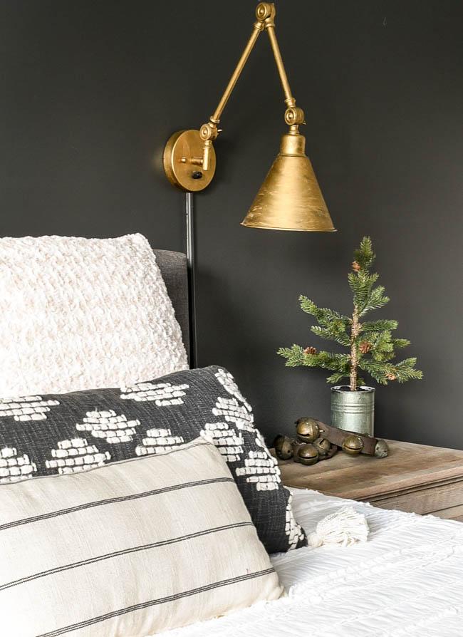 Christmas bedroom nightstand decor