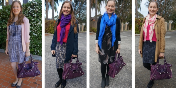 colourful outfit ideas with Balenciaga raisin work bag pink purple and blue | awayfromblue