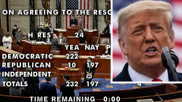 In a 232-197 vote by the U.S. House of Representatives, Donald Trump became the first president in American history to be impeached twice...on January 13, 2021.