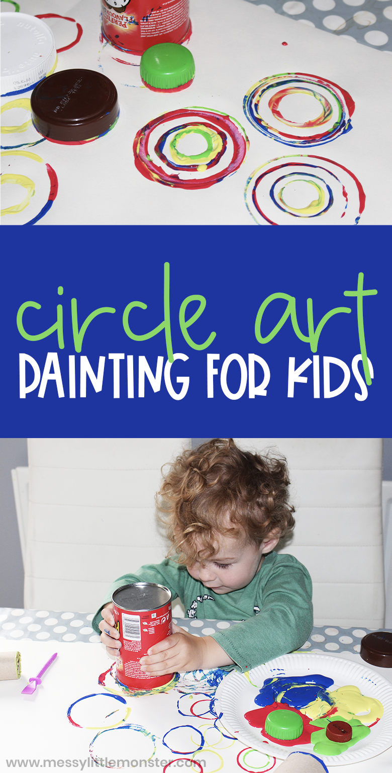Circle art for kids. Process art for toddlers and preschoolers. Painting for toddlers.  Kandinsky circles.
