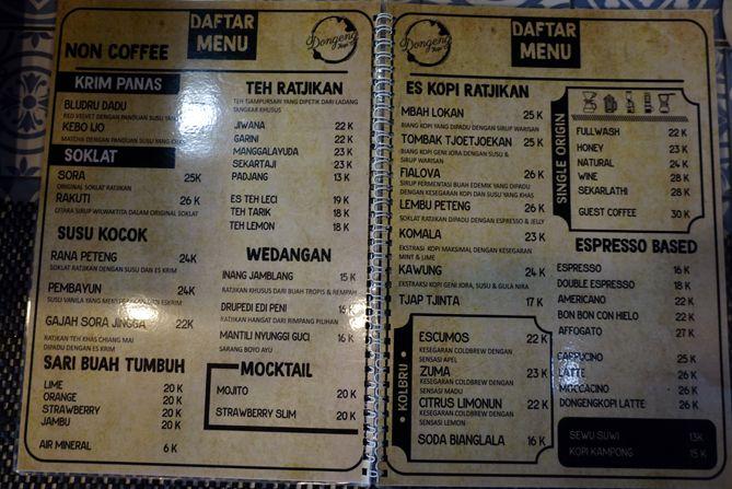 Daftar menu dan harga Dongeng Kopi Jogja