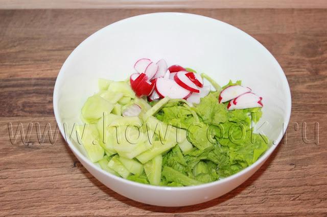 рецепт салата с редисом, огурцами и сыром фета с пошаговыми фото