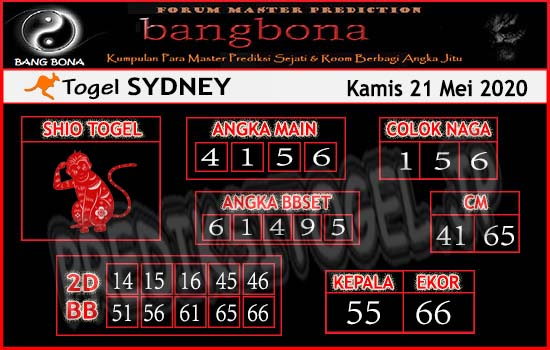 Prediksi Togel Sydney Kamis 21 Mei 2020 - Bang Bona