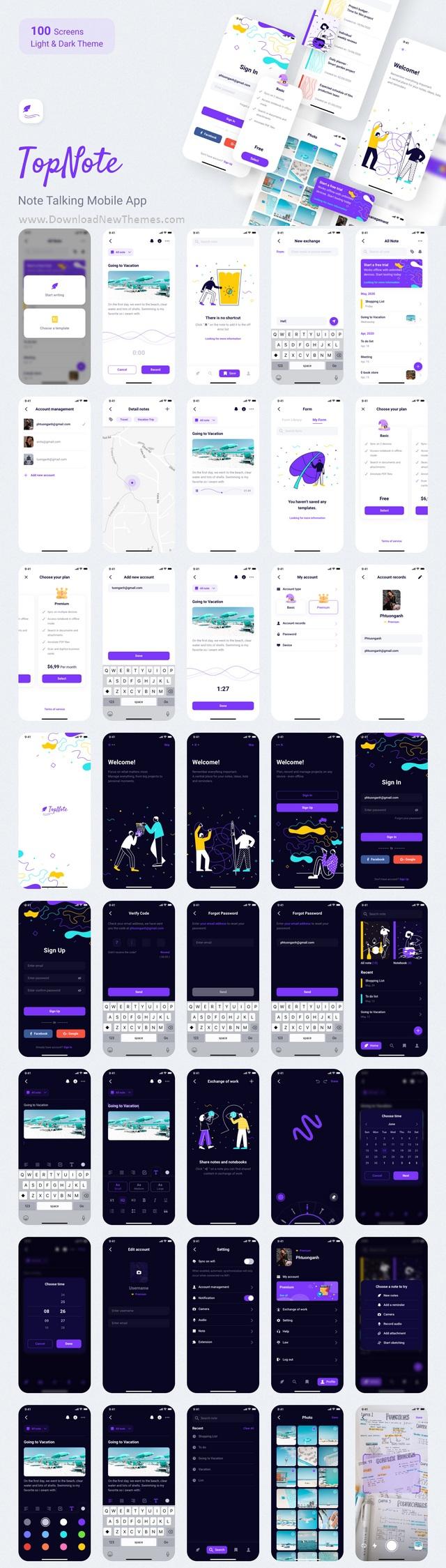 Best Note Talking Mobile App Template