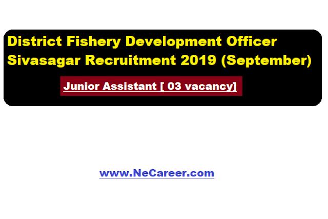 District Fishery Development Officer ,Sivasagar Recruitment 2019 (Sep) | Junior Assistant [ 03 vacancy]