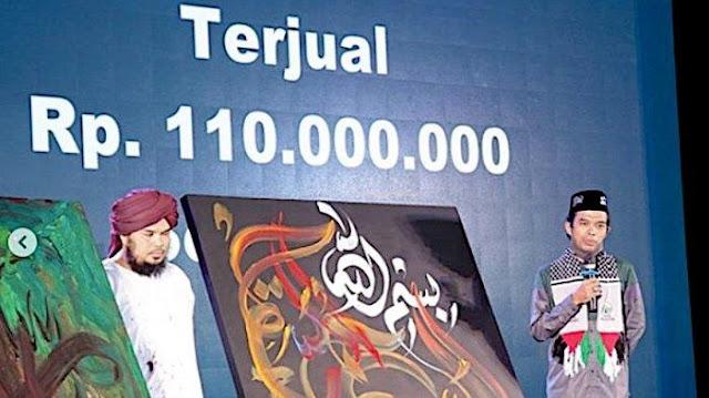 Lukisan Kaligrafi UAS dan Ustaz Derry Sulaiman Laku Dijual Rp 110 Juta, Disumbangkan untuk Palestina
