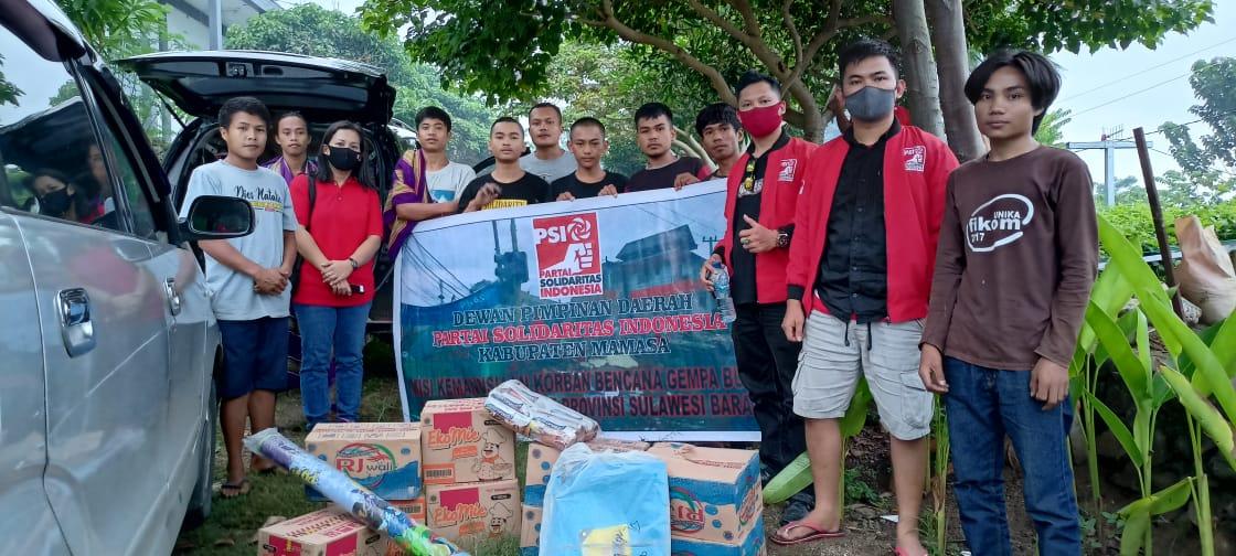 DPD PSI Mamasa Bersama Alegnya salurkan bantuan  bagi korban gempa di sulawesi barat