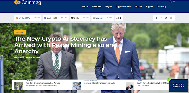 Coinmag Crypto Website Template - Crypto News WordPress Template