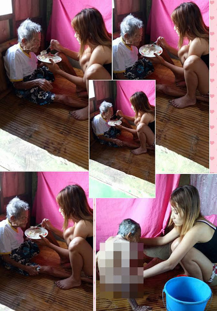 Look Here! Netizens Are Praising This Beautiful Young Woman Who Selflessly Takes Care of Her 98-year-old Grandmother