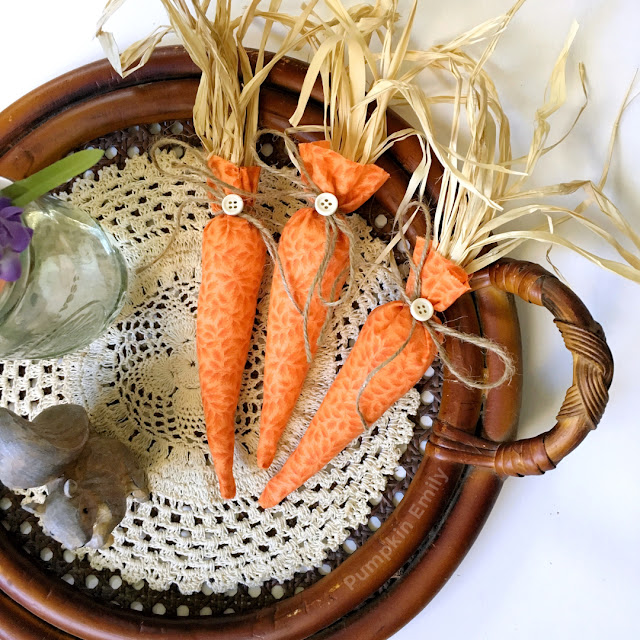 Farmhouse DIY No Sew Fabric Carrots