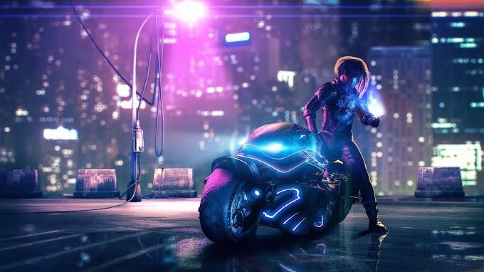 Sci-Fi Motoqueira Cyberpunk