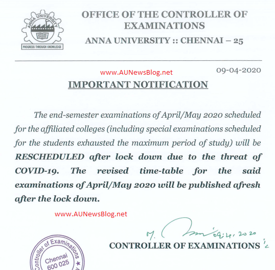 Anna University postponed all the semester examination April May 2020