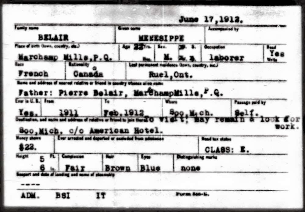 Fred Belair's record of arrival in Sault Ste Marie in 1912
