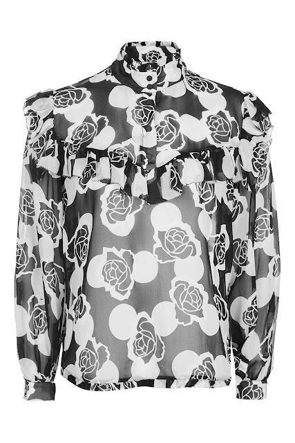 topshop unique crawford blouse, black white flower unique blouse, crawford blouse,