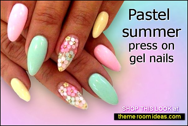 Pastel summer press on gel nails colorful nail designs decorating nails flower nails