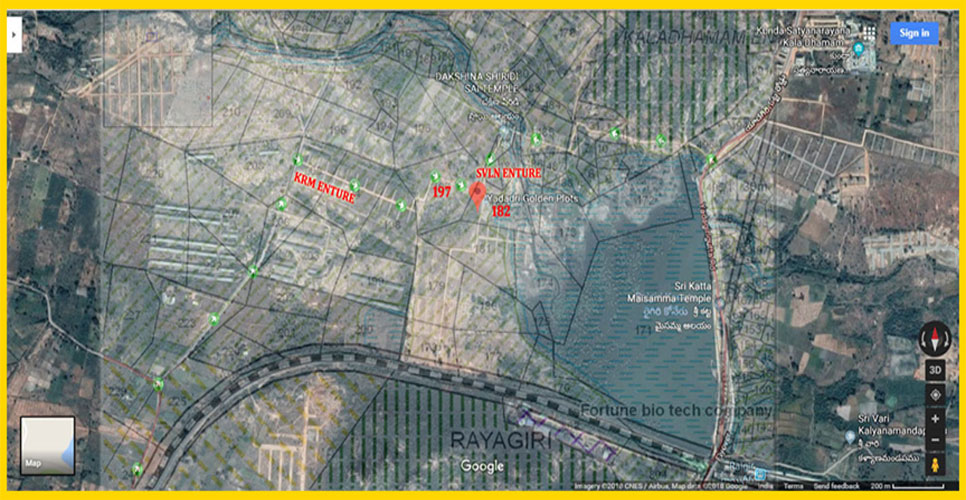 Google Satellite imagery and Master Plan. Survey Nos. 197 & 182