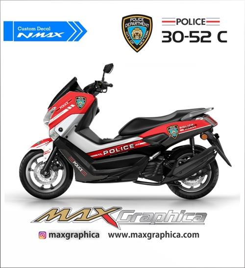 custom sticker decal yamaha nmax police merah fullbody printing