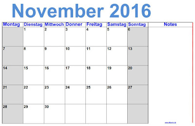 Deutsch November 2016 Kalender mit Noten - gratis printbare im Querformat.