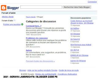 L'assistance Blogger en français en 2009