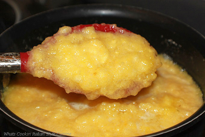 This is fresh pineapple that has been thickened to make a homemade fresh pineapple pie