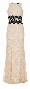 Quiz Cream Lace Split Embellished Maxi Dress