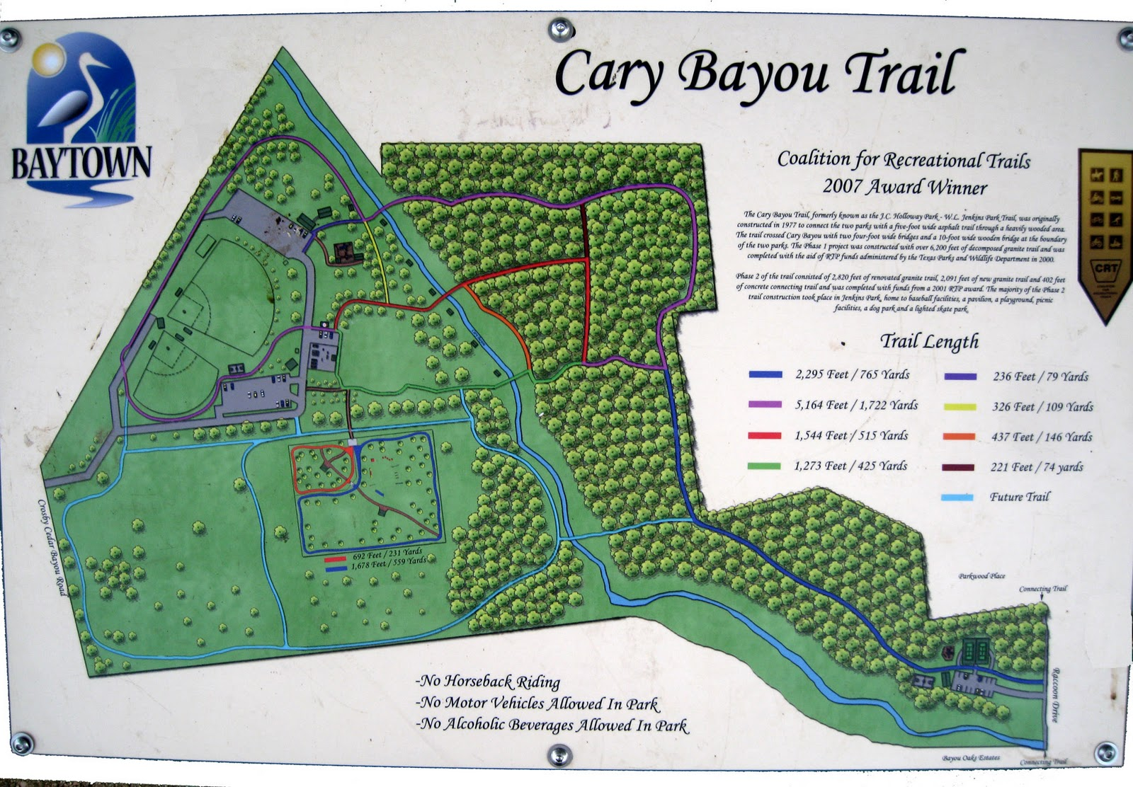 there is a proposed trail addition see map photo that will expand the trails considerably 3 new bridges are planned to span cary bayou