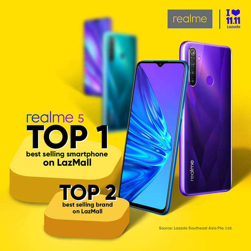 Realme 5 is LazMall's best-selling brand, realme is top 2 overall at 11.11!