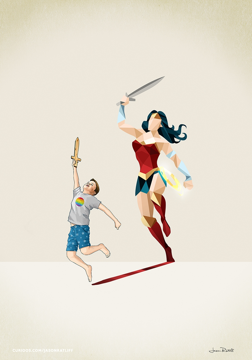 03-Wonder-Woman-Diana-Prince-Jason-Ratliff-Comic-Book-Heroes-in-Super-Shadows-II-Illustrations-www-designstack-co