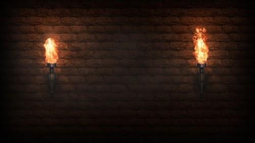 لقطات للمونتاج - خلفية فيديو لمشاعل النيران في المساء HD