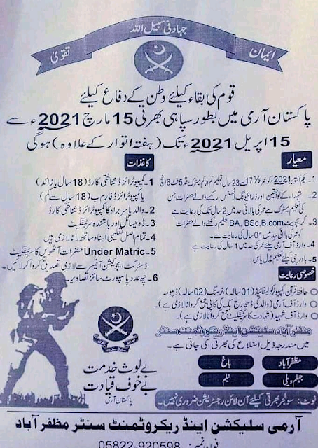 Jobs in Pakistan Pak Army Sepoy and Sepoy sports jobs 2021