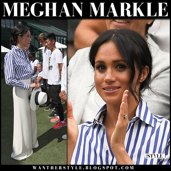 Meghan Markle in striped blue and white shirt ralph lauren wimbledon fashion july 14