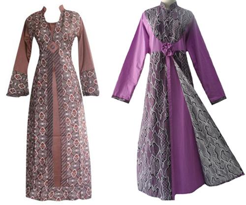 model baju gamis batik kombinasi