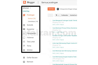 Fungsi dari Menu-menu di Dashboard Blogger