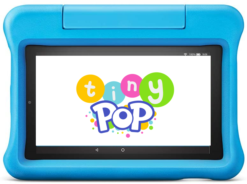 an amazon tablet showing tiny pop on the screen