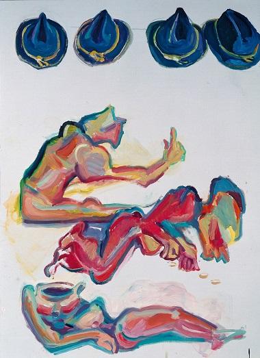 by Maria Lassnig - I cappelli dei contadini - 2002
