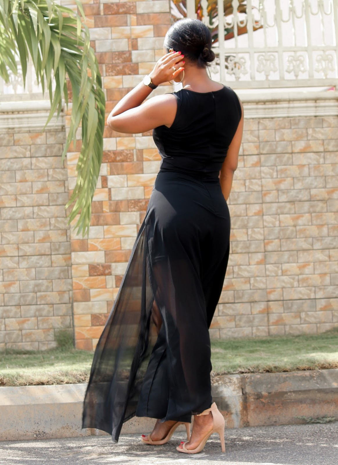 SHEER MAXI DRESS -  Side Slit Sheer Maxi Dress from Gamiss