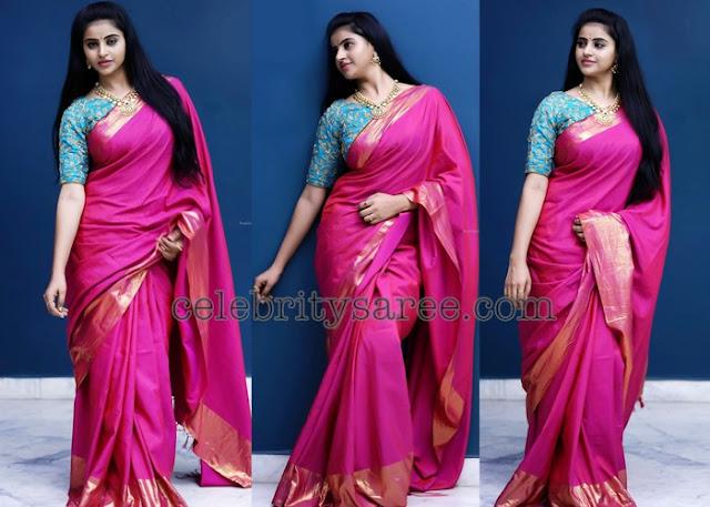 Naveena Reddy Pink Silk Saree